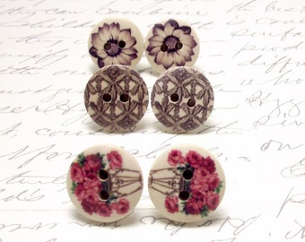 Pink Flower Button Earrings. Large Stud Earrings Set. Natural Wood Jewelry. Cottage Chic Post Studs.