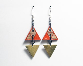 Geometric, Small Triangle Earrings with Triangle Brass Bead