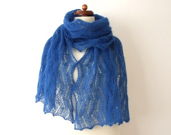 blue lace shawl with metallic thread, handknitted lace scarf, blue mohair wrap