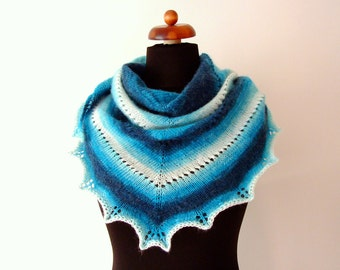 handknit scarf, ecru teal, triangle shawl, warm and cozy