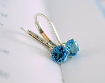 Swiss Blue Topaz Earrings, December Birthday, Leverback Earrings, Genuine Gemstone, Tween Girl, Sterling Silver, Birthstone Jewelry