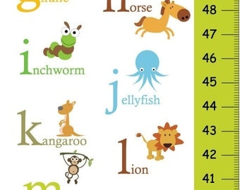 ON SALE 20% OFF Alphabet Animals Children Growth Chart in Green, Abc Personalized Growth Chart, Abc Canvas Height Chart,