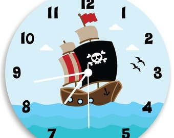ON SALE Pirate wall clock, Children Wall Clock, Nursery Room Decor Pirate Ship Boys WALL Clock