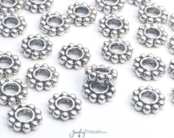 BIg Hole Daisy Spacer Beads, Large Hole Beads, Antique Silver Metal Beads, 7x2mm, 3mm Large Hole, Lead Free, Lot Size 15 to 50, #1316 BH