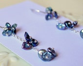 Peacock Pearl Earrings, Sterling Silver, Indigo Blue, Freshwater Keishi Pearls, Cluster, Dainty Jewelry, Free Shipping