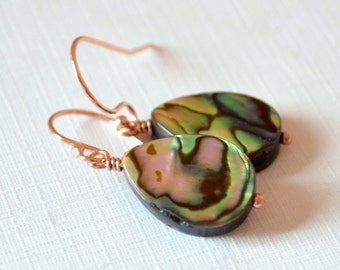 Abalone Earrings, Rose Gold Filled, Paua Shell, Wire Wrapped, Hook Earwires, Drop, Summer Jewelry, Free Shipping