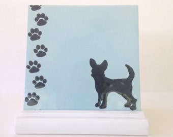 Chihuahua Dry Erase  Board / Ceramic Tile Memo Board - Wooden Stand and Marker