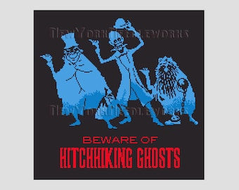 Hitchhiking Ghosts, Haunted Mansion Cross Stitch, Hitchhiking Ghosts Cross Stitch Pattern, Disney, Disney Haunted Mansion NewYorkNeedleworks