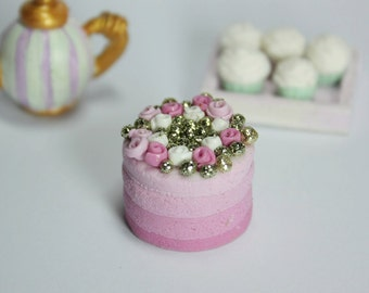 SALES MINIATURE CAKE 1/12 miniature ombre pink cake with candy flowers and gold sprinkles