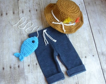 Gone Fishing Newborn Baby Boy Photo Prop Hat, Upcycled Pants and Fish Set - READY TO SHIP