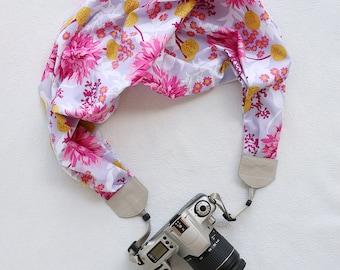 scarf camera strap lavender floral - BCSCS062