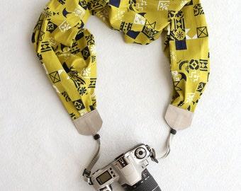 scarf camera strap green glyphs - BCSCS021