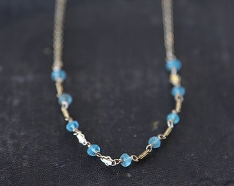 Dainty Shimmering Apatite Necklace / 14K Gold Filled / Sterling Silver simple everyday modern bridal jewelry