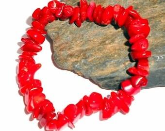 Red Coral Chip Stretch Bracelet Adjustable earthegy