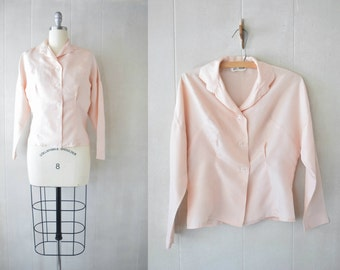 Vintage 1950s Blush Silk Blouse by John Miller | Vintage Silk Top | Pink Silk Blouse