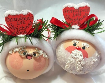 1st First Christmas Ornaments 2017 Set Santa Mrs Claus Sample Red Hearts Mom Dad Hand Painted Personalized Townsend Custom Gifts