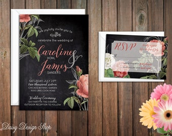 Wedding Invitation - Roses and Chalkboard - Vintage Botanical Flowers - Invitation and RSVP Card with Envelopes