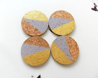Round Cork Coasters - Wine Cork Coasters - Drink Coasters - Bar Cart Accessories - Housewarming Gift- Round Coasters - Modern Coasters