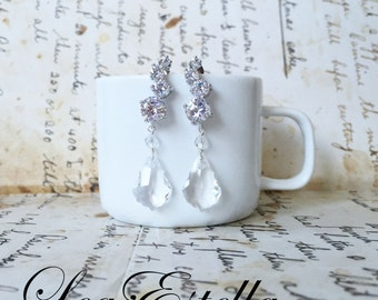 Silver Crystal Bridal earrings, Swarovski Crystal earrings, Cubic Zirconia earrings, Silver Diamond earrings - Sparkling Bride