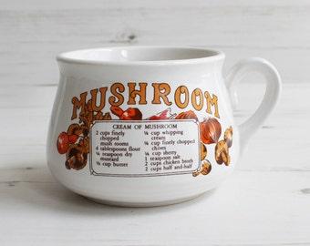 Vintage soup cup  - Mushroom Kitchen mug recipe cook drink handle Large blue cooking kitchenware