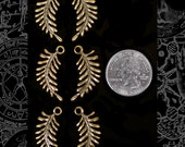 Three Sets of 2 Antique Brass Twisted Fern Charms - AB-C01