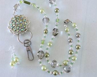 Green and Taupe, Crystal and Pearl,  Brooch lanyard
