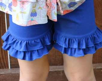 royal blue knit double ruffle shorts shorties bloomers sizes 12m - 14 girls