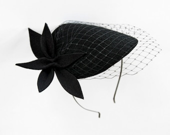 Black Wool Felt  Fascinator, Mini Hat with the Veil