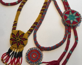 Set of three Vintage Beaded Native American Seed Bead Necklaces
