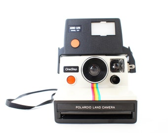 Polaroid Camera SX-70 Rainbow OneStep and Electronic Flash - Film Tested Working