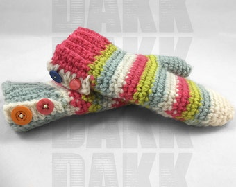 Crochet Colorful Stripes Mittens