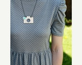 50% OFF SALE Wooden camera necklace with mint teal rose and ivory lace accents, Photo Set 4