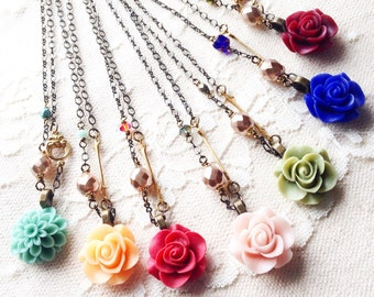 Romantic, asymmetric rose, brass accent, crystal, and pearl necklace, pick your color, Romance Is In The Air