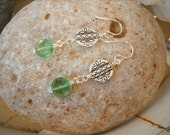 Green Peridot and Antique  Silver Wire Wrapped Dangle Earrings
