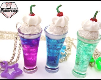 Cosmic Cream Soda, Decora, Ice Cream Necklace, Handmade Soda Float