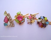 Vintage earrings hair slides - Spring pastel multicolor satin moonglow glass gems unique fun embellish jeweled decorative hair accessories