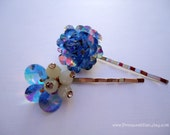 Prom Wedding Vintage earrings hair slides - Royal blue cluster beaded auroa borealis crystals with rhinestone hair accessories TREASURY ITEM