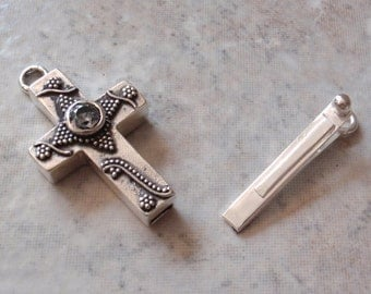 Sterling Silver Box Clasp Sideways Cross Clear CZ Granulation Qty. 1