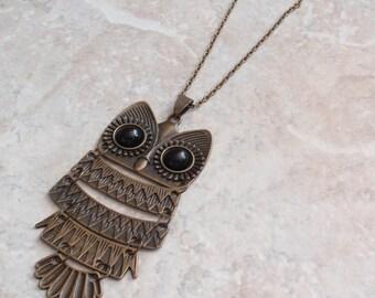 Bronze Owl Necklace Large Long Black Eyes Articulated Vintage V0650