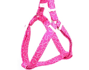 Pink Step In Dog Harness - White Stars on Pink - Mini Small Medium Large XL Dog Harness