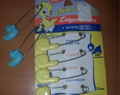 Vintage Diaper Pins Chic-a-Dee Yellow and Blue