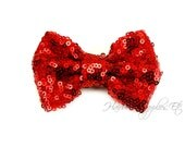 Red Sequin Bows Small 3 inch - Sequin Bow Headband, Sequin Bow Tie, Sequin Hair Bow, Sequin Hair Bows, Sequin Baby Bows