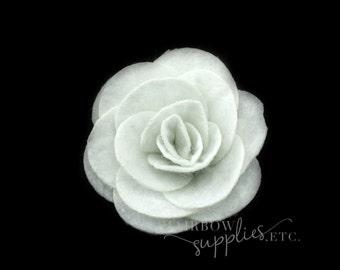 White Felt Roses Medium 1-3/4 inch - White Felt Flower Headband, White Felt Flower Clip, White Felt Flower Bouquet, White Felt Hair Clip