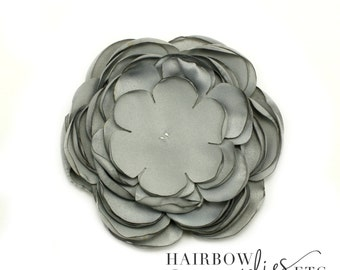 Gray Singed Satin Flowers 4 inch Multi Layer Singed Flowers, Satin Flowers, Satin Flower Headband, Satin Singed Flowers, Flower Girl