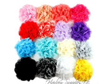 Petite Lace Chiffon Flowers 3.5 inch - Fabric Flowers, Flowers for Hair, Flowers for Headbands, Baby Flower Headband, Hairbow Supplies, Etc.