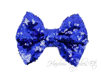 Royal Large Sequin Bows 4 inch Bows - Bow Applique, Sequin Bow, Large Bows, Big Bows, Wholesale Bows, Sequin Bow Tie, Sequin Bow Headband