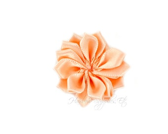 Peach Dainty Star Flowers 1-1/2 inch - Peach Fabric Flowers, Peach Silk Flowers, Peach Hair Flowers, Peach Flowers for Hair, Peach Flowers