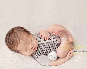 newborn boy romper (Jager) - photography prop - onesie, grey, black, outift, houndstooth