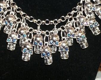 Skull Bib necklace, Skull necklace, Skulls, skull jewelry, rhinestone eyes, silver, Day of the dead, Halloween, Biker jewelry