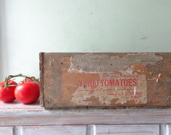 Vintage Wooden Tomatoes Crate
